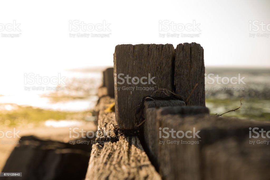 Barrière en bois sur la mer stock photo