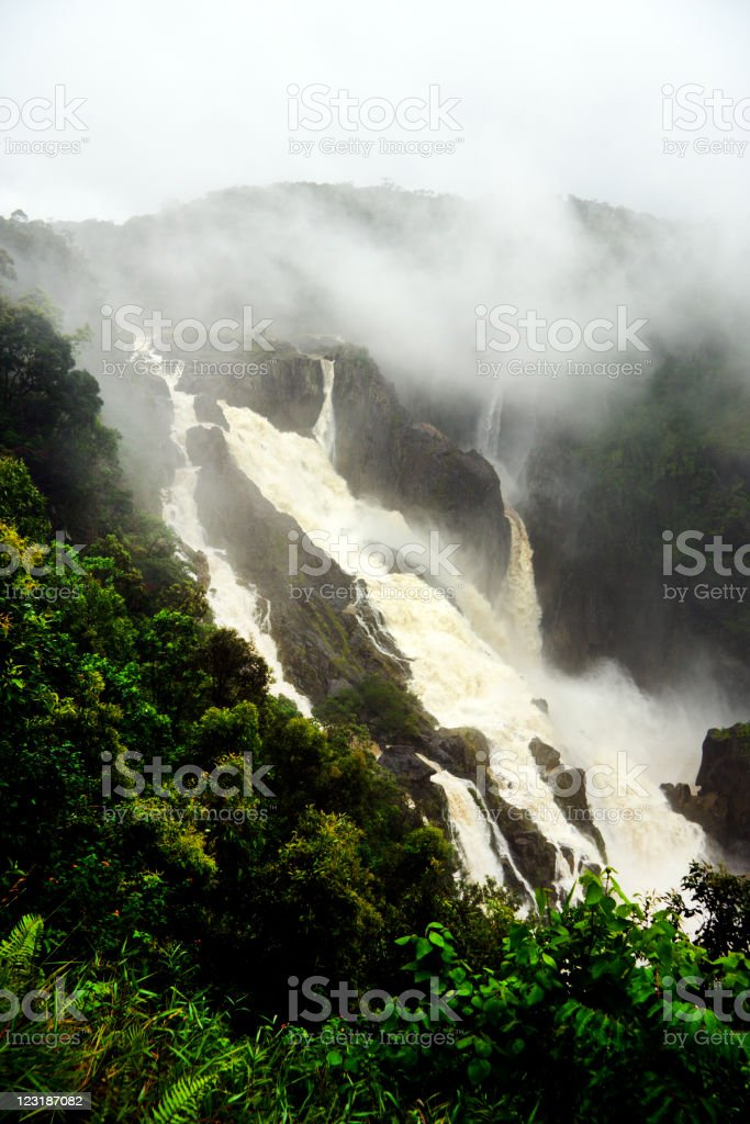 Barron Falls a tourist destination with lots of water royalty-free stock photo