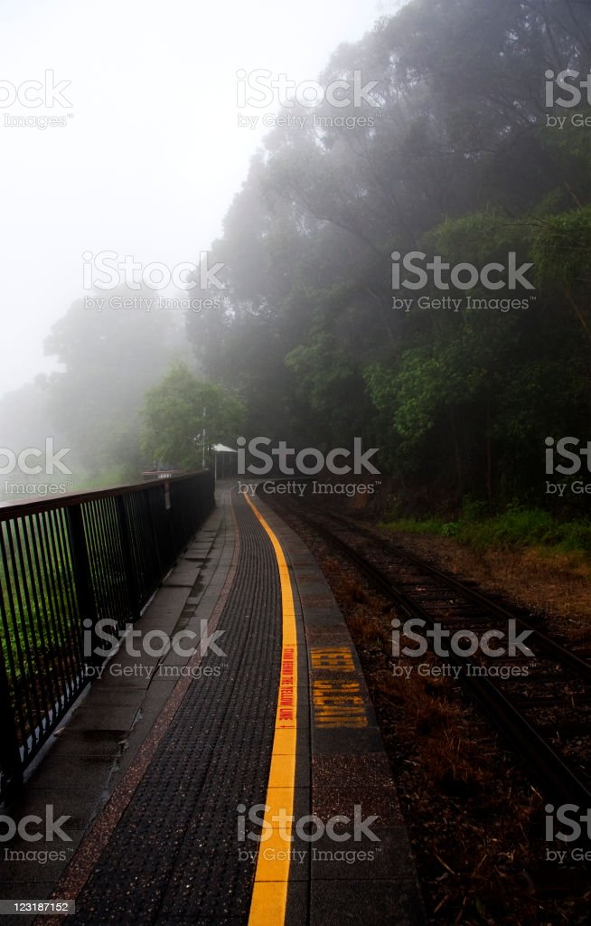 Barron Falls Railway Station in the Rain royalty-free stock photo