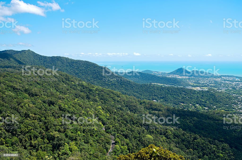 Barron Gorge Canopy and Coral Sea stock photo
