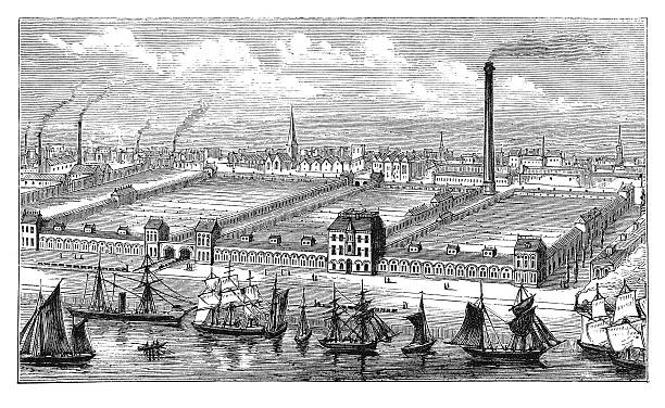 barrow flax and jute mills (antique engraving) - industrial revolution stock pictures, royalty-free photos & images
