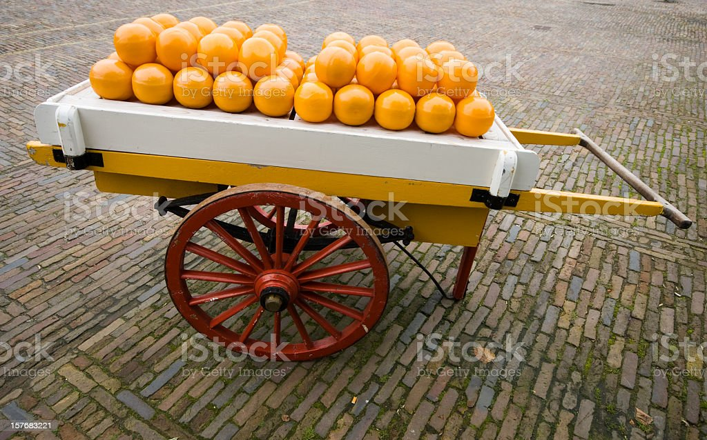 Barrow of Edam Cheeses stock photo