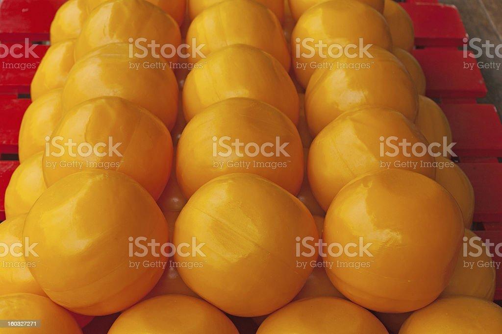 Barrow of Edam Cheeses stock photo