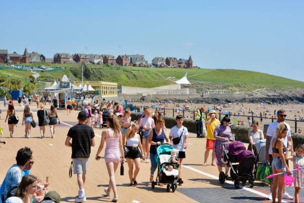 Barry Island Promenade is open again and parking restriction lifted stock photo