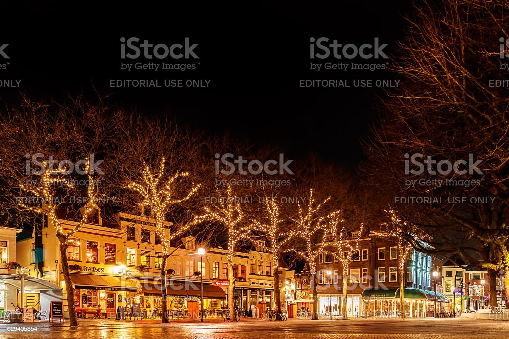 Zwolle, The Netherlands - December 7, 2016: Bars and restaurants with...