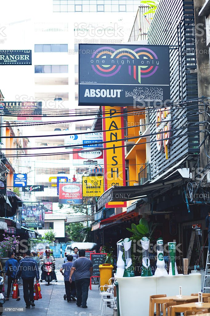 Bars and sex massage shops in Patpong area - Stock image .