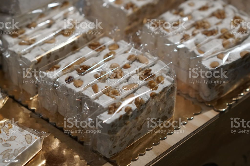 Bars of almonds nougat stock photo