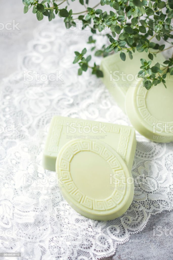Bars of handmade soap, the concept of spa and health. royalty-free stock photo