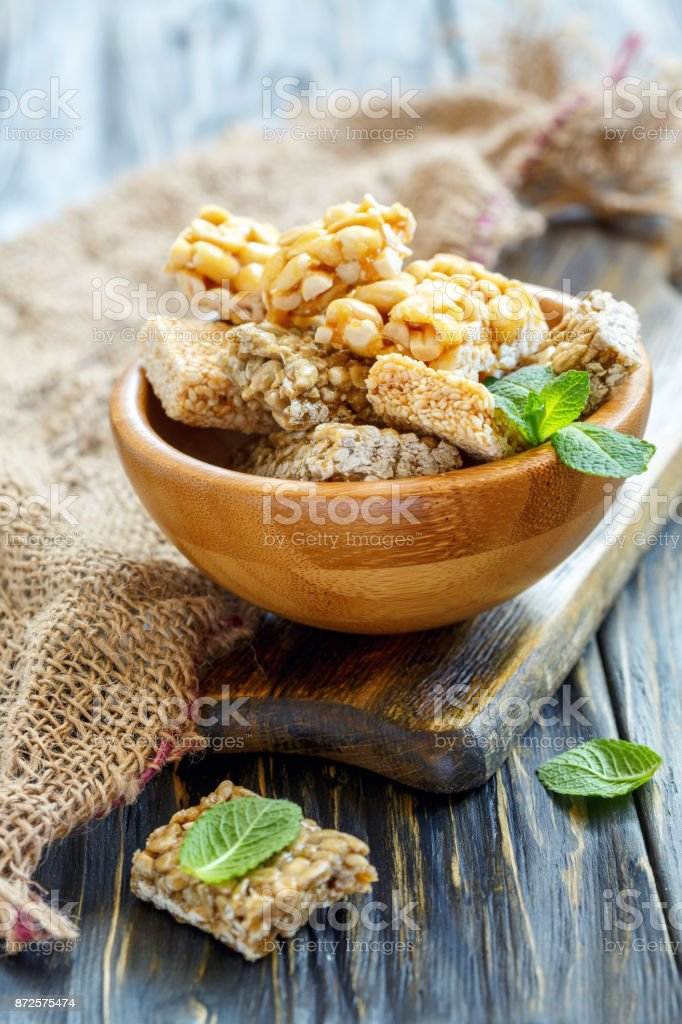Bars with sesame seeds, sunflower seeds and peanuts. stock photo