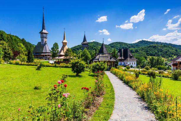Barsana, Romania. Barsana, Romania. Wooden churches at Barsana Monastery. Maramures region. romania stock pictures, royalty-free photos & images