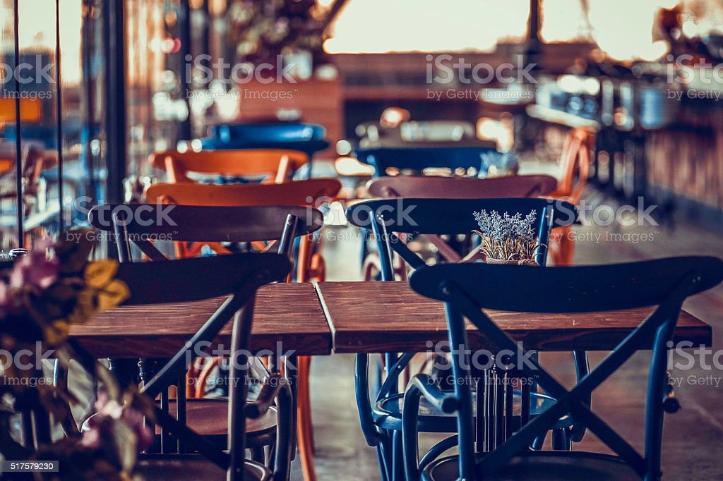 Barstools, Mexican Restaurant, Victoria stock photo