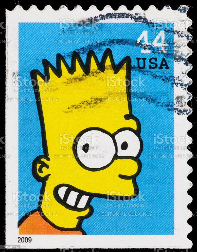 USA Bart Simpson postage stamp stock photo