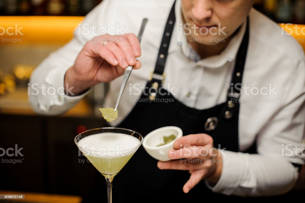 Bartender in a white shirt and apron decorating a cocktail with a birch leaf stock photo