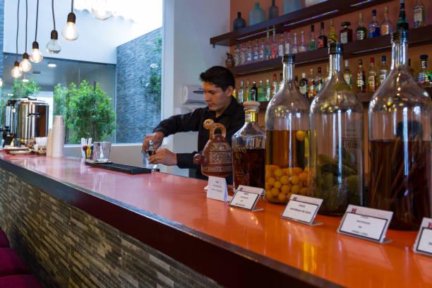 Bartender in Cusco Cusco, Peru - May 13 : Bartender preparing a Pisco Sour in a beautiful bar downtown Cusco. May 13 2016, Cusco Peru. Amen stock pictures, royalty-free photos & images