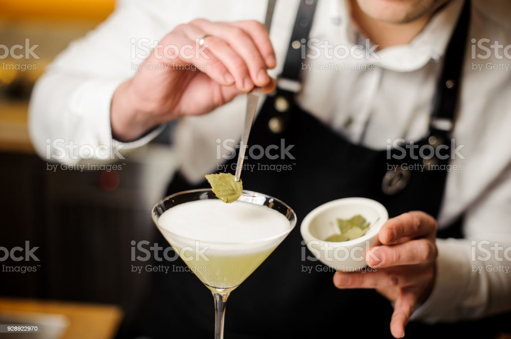 Bartender in white shirt and apron decorating a cocktail with a birch leaf stock photo