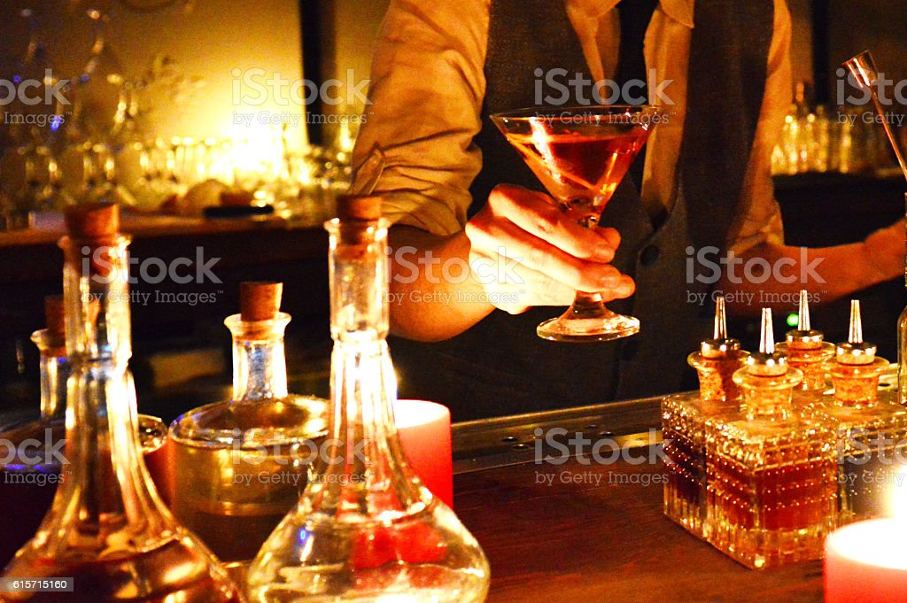 Bartender Making Cocktails stock photo