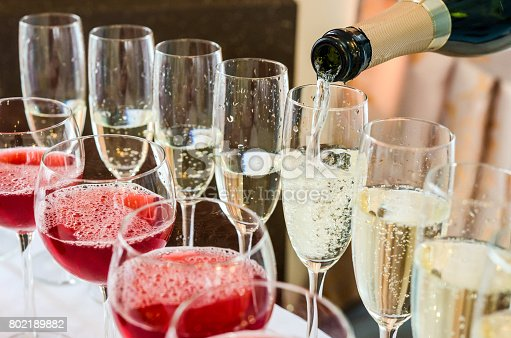 istock Bartender pouring champagne into glass 802189882