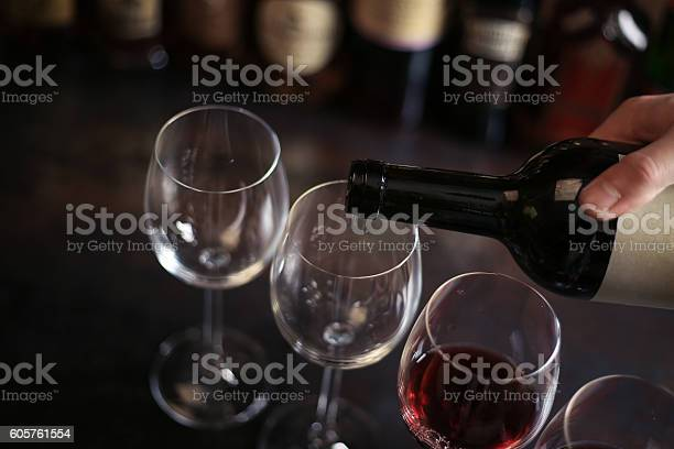 Bartender pours a glass of red wine picture id605761554?b=1&k=6&m=605761554&s=612x612&h=of3hxthmofyfieelmjtcc4w0sflkgcp4la8pymtfwda=