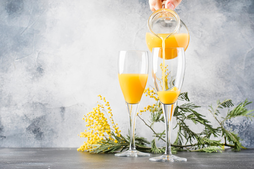 Bartender preparing alcohol cocktail mimosa with orange juice and cold dry champagne or sparkling wine in glasses, gray bar counter copy space, selective focus