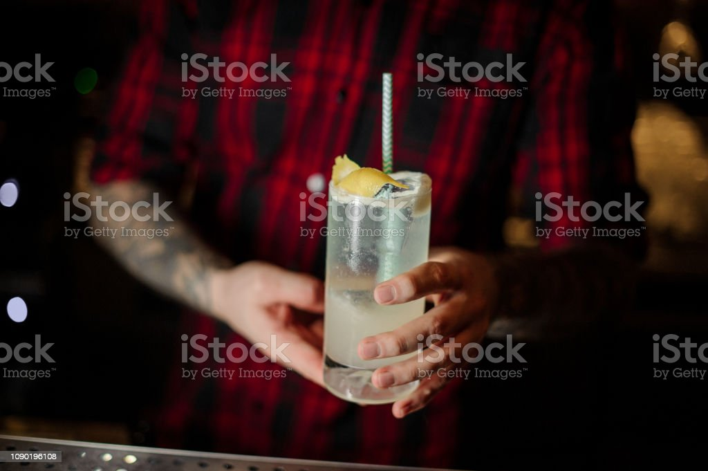 Bartender serving a Gin Fizz cocktail with tubule in the decorative glass stock photo