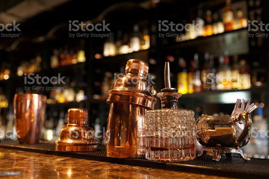 Bartender tools on bar counter stock photo