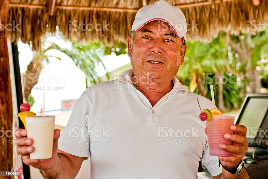Bartender with Drinks royalty-free stock photo