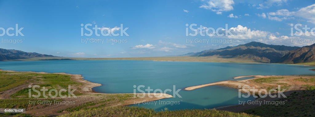 Bartogai dam on a mountain river Chilik, Kazakhstan stock photo