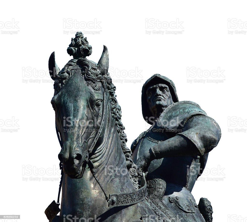 Bartolomeo Colleoni statue isolated stock photo