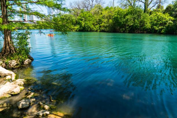 barton springs eaux tropicales, le long de la ville de lake à austin, texas usa - source naturelle photos et images de collection