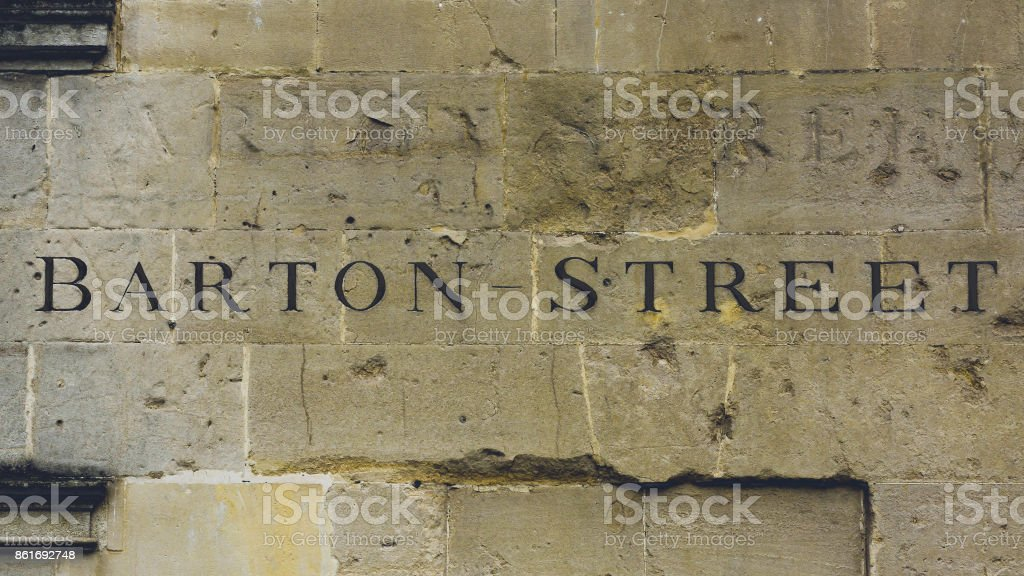 Barton Street Carved in the Stone stock photo