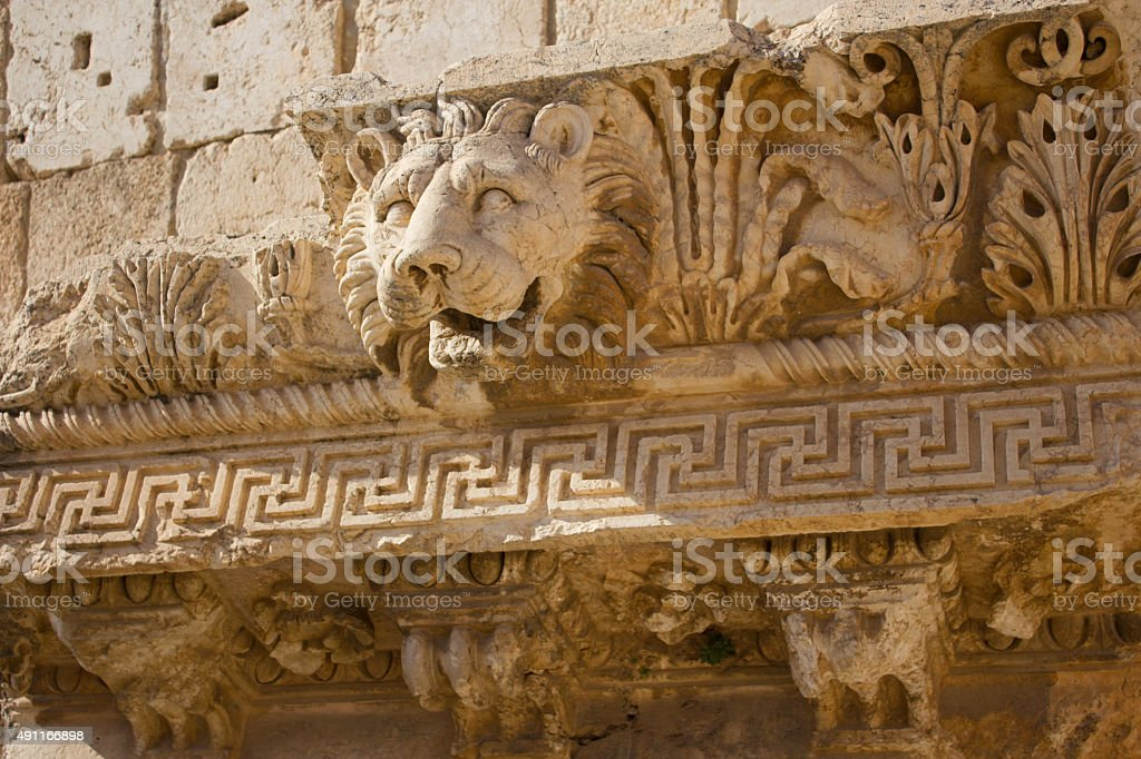 Bas Relief and Lion Head Figure, Baalbek, Lebanon, Middle East stock photo