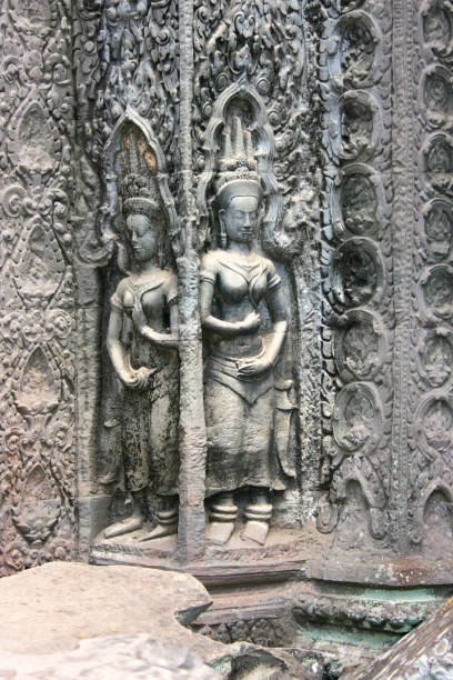 Bas relief at Ta Prohm temple in Siem Reap stock photo