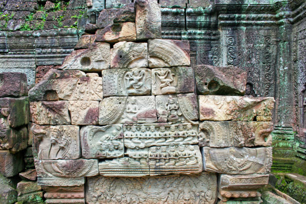 Bas relief at Ta Som temple in Siem Reap stock photo