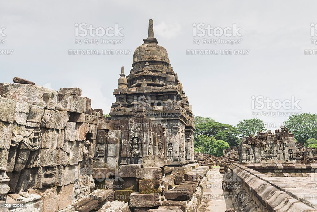Bas Relief in Ancient Indonesian UNESCO Sewu Buddhist Temple Java stock photo