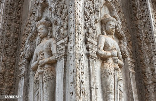 1147569123 istock photo Bas Relief mural of Khmer culture in Angkor Wat temple wall , Cambodia, close up 1182592857