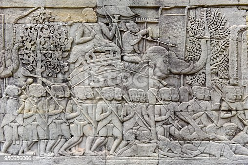 1147569123 istock photo Bas relief of Bayon Temple, Angkor Thom, Siem Reap, Cambodia 950656066