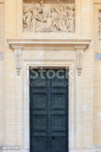 bas relief above a front door of the Pantheon in Paris; Paris, France