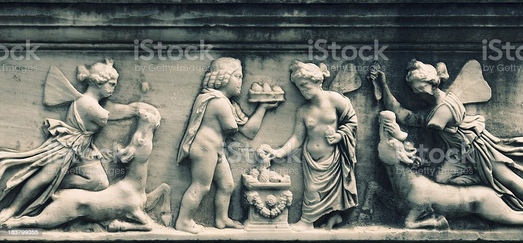 Bas Reliefs of an Ancient Sarcophagus royalty-free stock photo