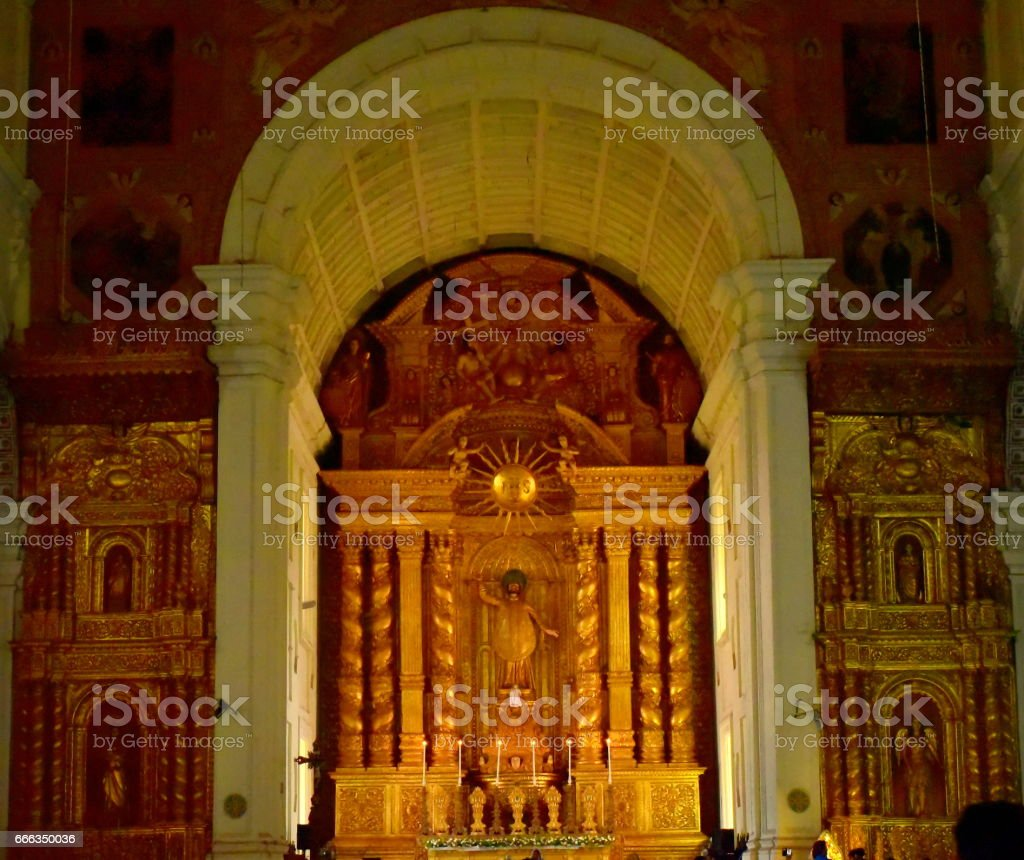 Basalicas tomb in old Goa stock photo