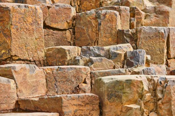Basaltblock Gesteinsformation auf Feroe Inseln. Geologie vulkanisch – Foto