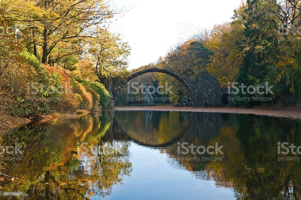Basalt bridge (Rakotzbrücke) in the Kromlauer Park, Germany stock photo