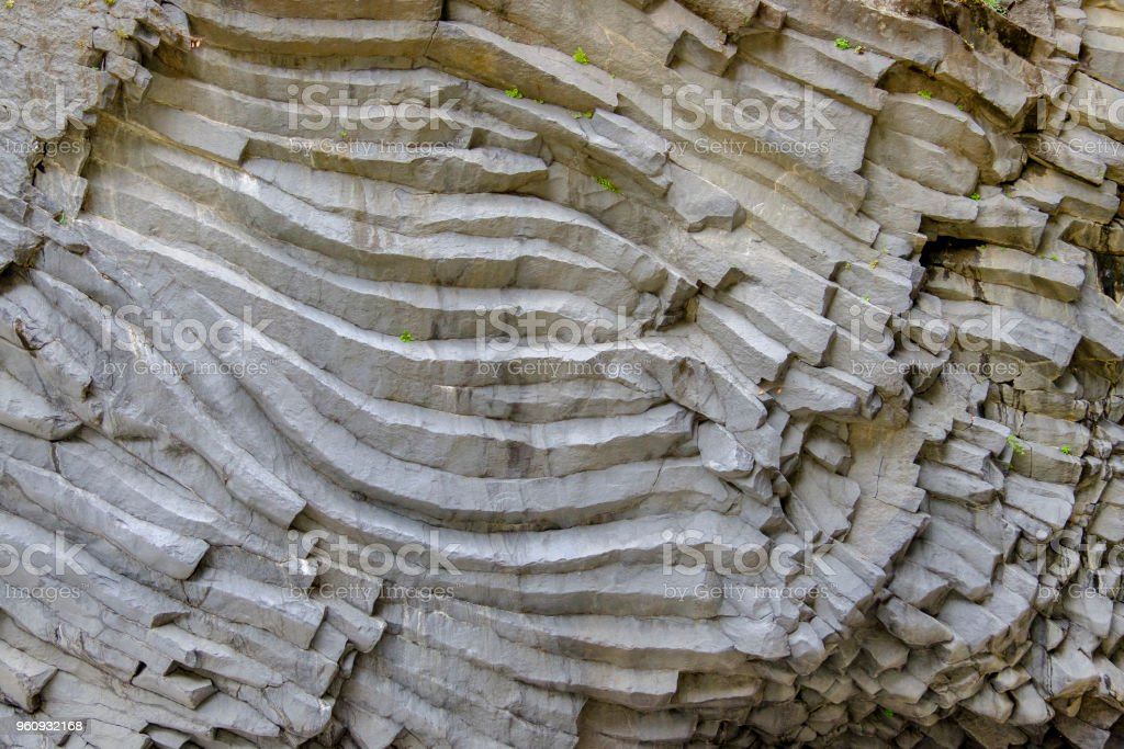 Basalt columns in the Gole dell'Alcantara - Alcantara Gorge (Sicily, Italy) stock photo