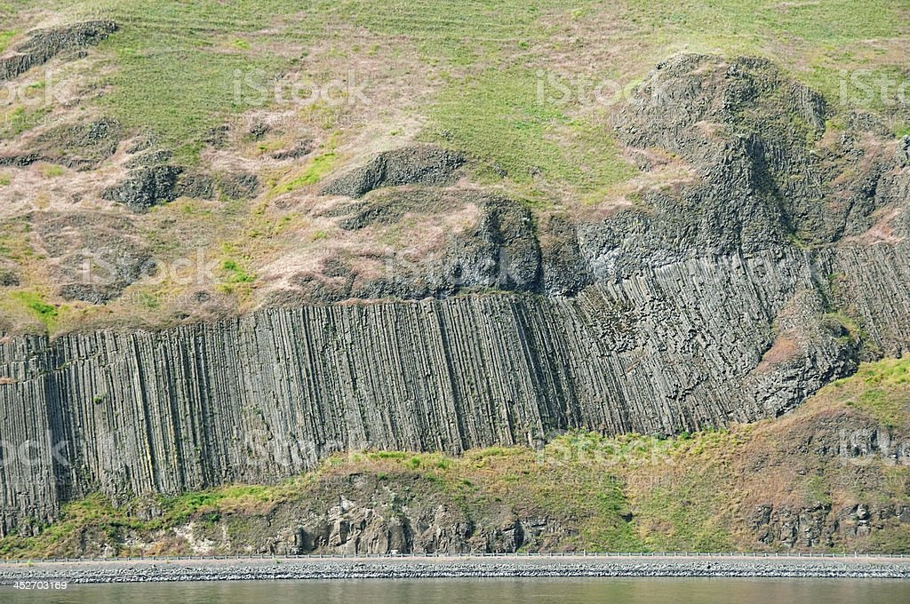 Basalt formations above highway and river in Washington state stock photo