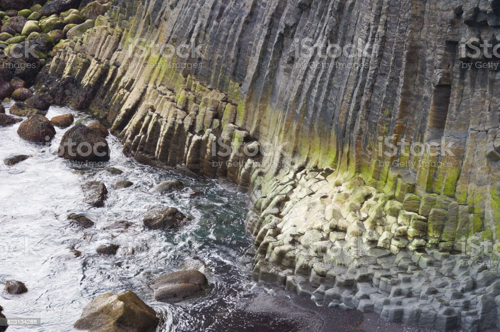 Basalt formations at the coastline between Arnarstapi and Hellnar,Iceland stock photo
