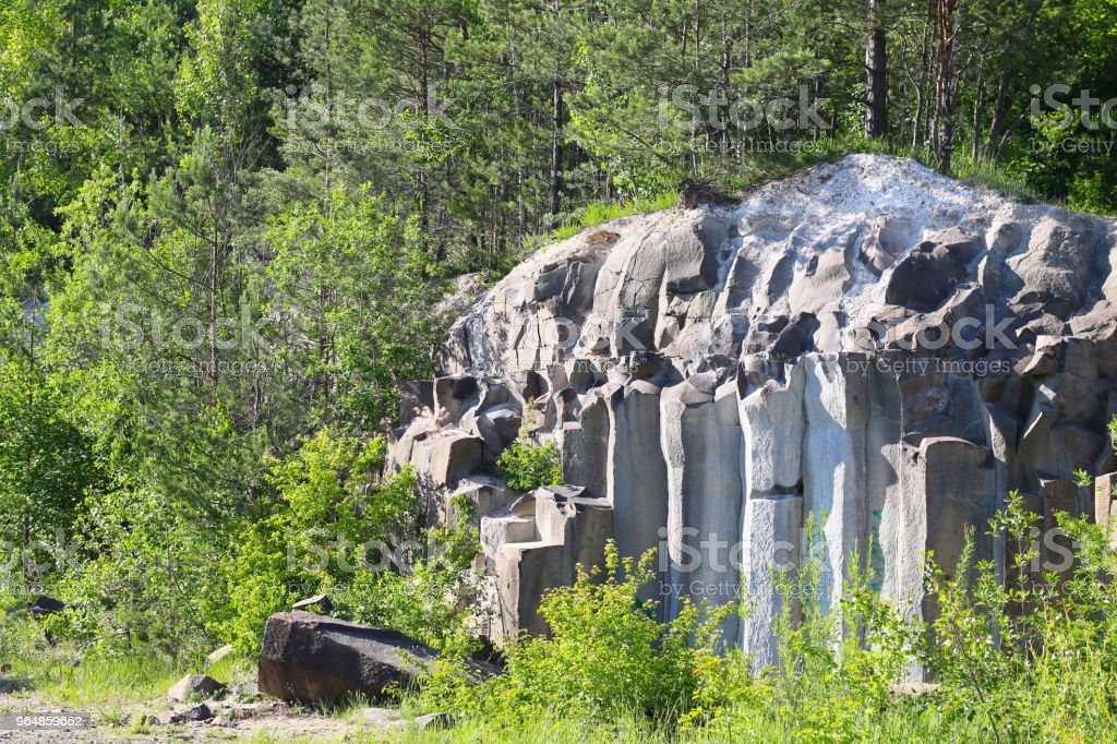 basalt mountain in the forest royalty-free stock photo