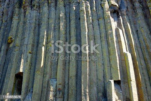basalt columns at devil's tower in wyoming