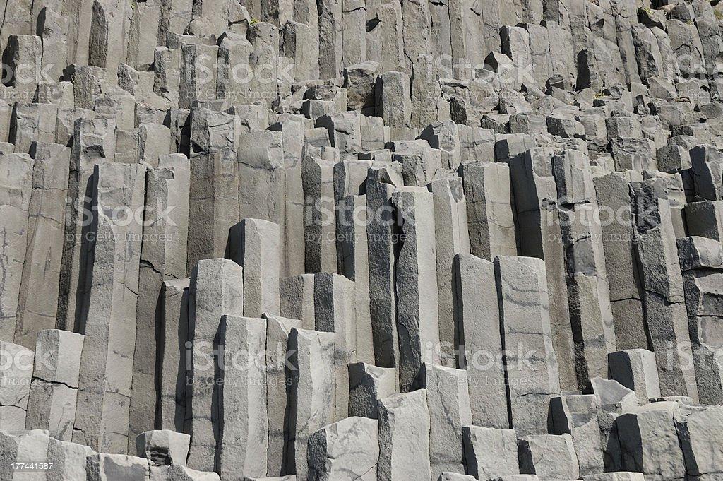 Basalt prisms rock, South Iceland. royalty-free stock photo