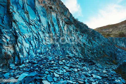 nature background of basaltic rocks in the mountains.