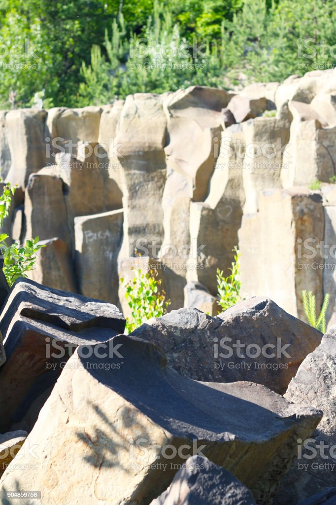 Basalt stones and columns background royalty-free stock photo