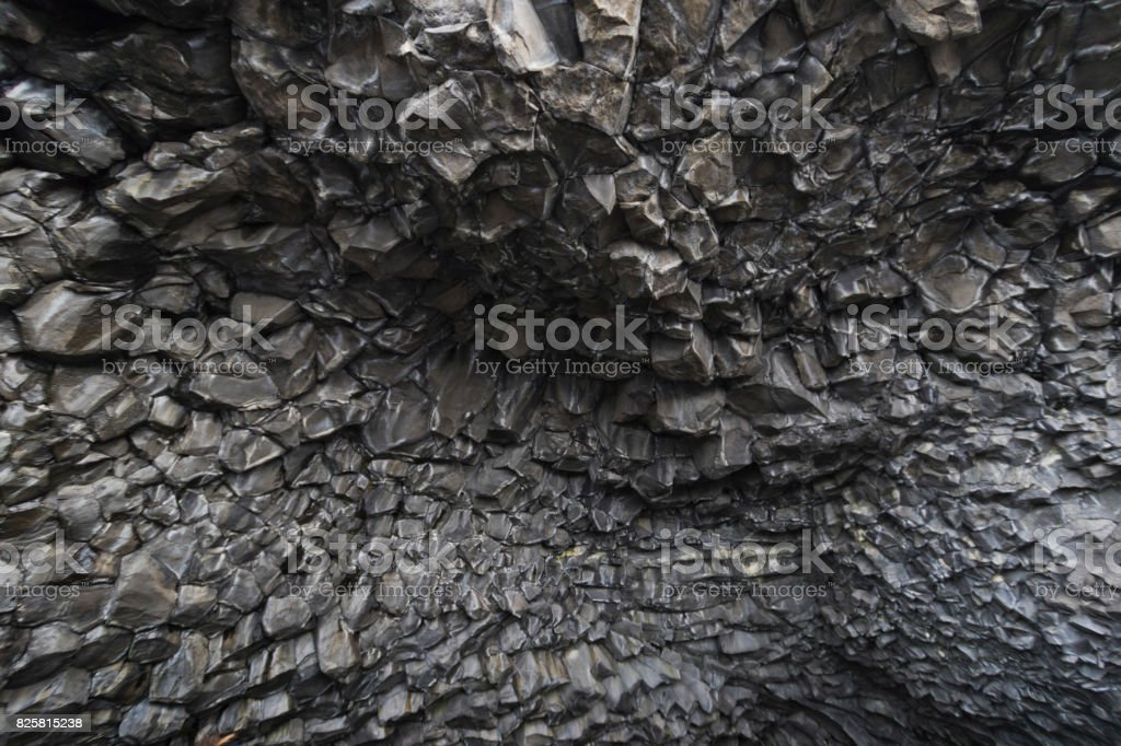 Basalt volcanic cave stock photo
